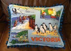 Retro cushion cover, Tea towel cushion cover, Victoria souvenir cushion cover, Handmade cushion cover by RetroMementos on Etsy