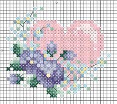 Heart flowers cross stitch