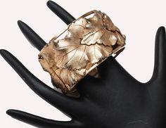 repousse leaf floral Bracelet - Signed Bartek - gold over lap leaves  design -Safety chain - wide Hinged bangle