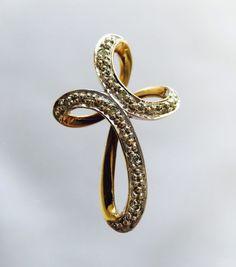 Gouden Kruis Hanger met 7 Briljant geslepen Diamanten