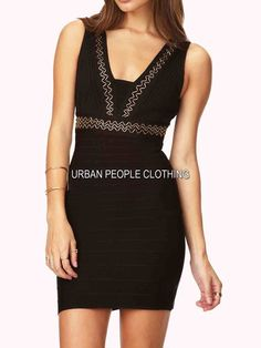 $128 SEXY BODYCON BANDAGE BLACK GOLD METALLIC BEADED TRIM S/M/L SEXY TRENDY CHIC #URBANPEOPLECLOTHING #cocktail #Casual