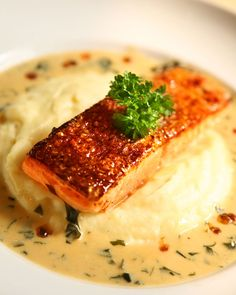 Grilled Salmon on Wasabi Mashed Potatoes with Wakame Sauce...John would lovee! Wasabi ;)