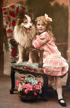 vintage girl and dog tinted photo postcard