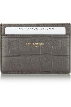 Saint LaurentCroc-effect leather cardholder