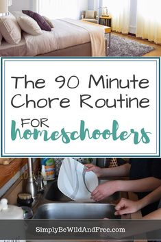 Simple 90 Minute Chore Routine for Homeschool Kids! Best chore routine for homeschoolers! How to fit chores into your homeschool schedule. Simple chore list for kids. Teach your homeschoolers responsibility with this simple chore routine for kids. Chore List For Kids, Block Scheduling, Mackenzie Ziegler, Household Chores, Household Tips, Home Schooling, School Days, High School, School Stuff