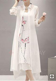 Solid Collar Long Sleeve Maxi A-line Dress Stylish Dress Designs, Stylish Dresses, Elegant Dresses, Cute Dresses, Beautiful Dresses, Long Maxi Dresses, Long Casual Dresses, Ladies Dresses, Women's Dresses