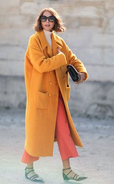 Gorgeous Oversized Menswwear-inspired Coat Worn With Polo Neck And Culottes | Candela Novembre Street Style at Paris Fashion Week Spring 2016