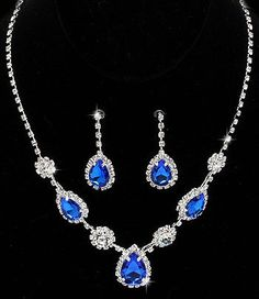 Judith's Fancy Silver Tone Cobalt Blue and Clear Crystal Rhinestone Teardrop Necklace and Earrings Set Bridal Wedding Formal Prom Special Occasion Jewelry