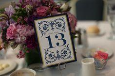 Blue scroll table number found on Modern Jewish Wedding Blog