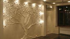 DIY nástenné dekorácie - originálne nápady na zdobenie interiéru. Dekorácie na stenu: šablóny, nálepky, závesy Urob si sám dekoráciu na stene Plaster Art, Plaster Walls, Room Decorations, Diy Room Decor, Home Decor, Ceiling Texture, Wall Ornaments, 3d Home, Tree Wall Art