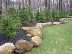 60 Awesome Front Yard Rock Garden Landscaping Ideas - All About Garden Landscaping With Boulders, Privacy Landscaping, Outdoor Landscaping, Front Yard Landscaping, Outdoor Gardens, Landscaping Ideas, Natural Landscaping, Backyard Ideas, Wooded Backyard Landscape
