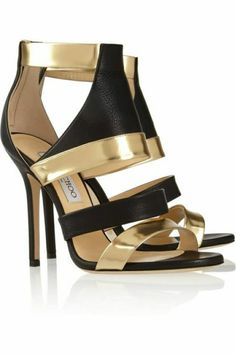 chaussures d ete femme en cuir noir et accents dorés