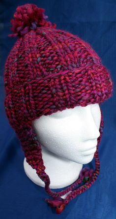 Hand knitted woolly ear flap hat with bobble in attractive 'Bouquet Red / Pink'. Handknit hat. Knit hat. Wool hat. Earflap hat with braids
