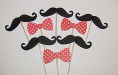 24 Black Mustache Red Polka Dot Bowtie Cupcake Toppers, Baby Shower, Birthday #Handmade #BirthdayChild