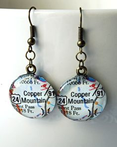 Copper Mountain Ski Town Colorado Earrings by Smokinmudproductions, $26.00