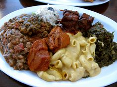 Vegan Southern Food- As Requested! XThe Everything Plate - Mac'n'Cheese, BBQ Tofu, Potato Sallad, Lentils, Peas, Collard Greens & Sweet Yams!