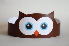 Create your own Owl Crown! Print, cut & glue your owl crown together & adjust to fit anyones head! Art For Kids, Crafts For Kids, Arts And Crafts, Paper Crafts, Crown Printable, Printable Paper, Paper Owls, Hat Crafts, Owl Hat