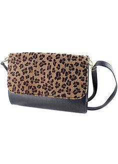 Black Contrast Leopard PU Leather Shoulder Bag #MyTrendTwoWardrobe