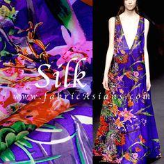 Spring Wedding 2016. Purple floral silk. Silk Chiffon by fabricAsians