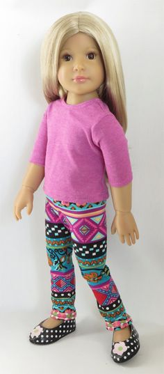 """For Kidz 'n' Cats, Magic Attic, and Other Slim 18"""" Dolls. Fuchsia Top, Tribal Leggings, and Dot/Flower Shoes"""