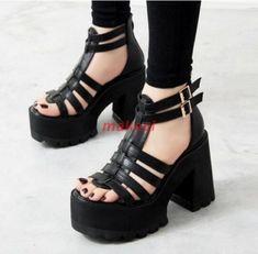 Womens Platform Open Toe Chunky Heels Strap Buckle Gladiator Punk Sandals Shoes   eBay