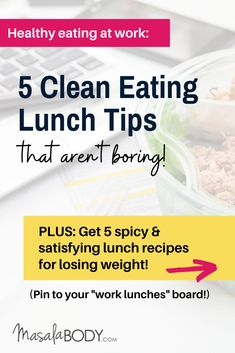 Healthy Eating at Work: 5 Clean Eating Lunch Tips - that aren't boring! About weight loss meals, spicy fat burning foods, meal prep for work lunches, fat loss over Weight Loss Plans, Weight Loss Program, Weight Loss Transformation, Weight Loss Tips, Lose Weight, Healthy Lunches For Work, Work Lunches, Stop Sugar Cravings, Ginger Benefits