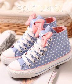 Lovely Bowknot Polka Dots Canvas Shoes Flats