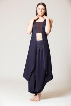 Harmony Top Asymmetrical Vest Blue/Black by MichalRomem on Etsy