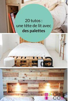 20 tutos pour fabriquer une tête de lit avec des palettes // http://www.deco.fr/loisirs-creatifs/photos-78349/