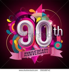 90Th anniversary wreath ribbon logo, geometric background - stock vector