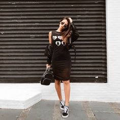 Vans Outfit, Black Vans, All Black, Casual Dresses, Casual Outfits, Outfits Mujer, Victoria, Weekend Wear, Casual Looks