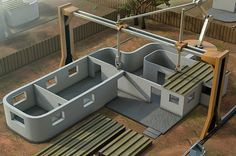 New giant 3D concrete printer concept could build a house in 24 hours using the Contour Crafting process