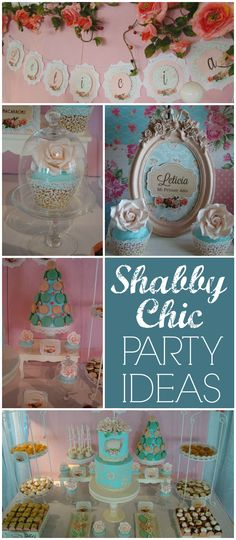 What a pretty shabby chic party in blue and pink! See more party ideas at CatchMyParty.com!