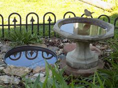 The little birds go to the small birdbath, the in ground birdbath, is a $7 flower pot bottom, made of thick plastic! The robins and red  birds love it!