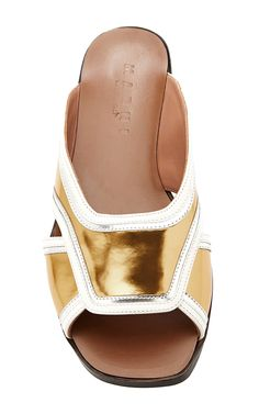Gold Sandal In Calf Leather by Marni - Moda Operandi
