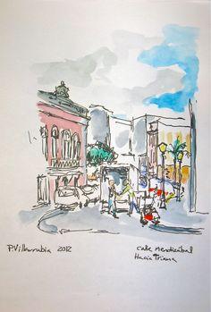 Las Palmas de Gran Canaria. Mendizábal Street to Triana. Watercolour. Pen And Wash, Ink Wash, Architecture Sketches, Canario, Urban Sketching, Canary Islands, Illustration Art, Watercolor, Beach