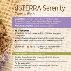 Serenity is a blend of essential oils with known calming properties which create a sense of well-being and relaxation, which is exactly why so many of you love using it to help get a restful night's sleep! The Lavender, Marjoram, Roman Chamomile, Ylang Ylang, Sandalwood and Vanilla Bean oils create a subtle aroma ideal for aromatic diffusion or topical application. Try adding it to a warm bath as well...it creates the perfect escape with its peaceful, renewing fragrance! www.hayleyhobson.com