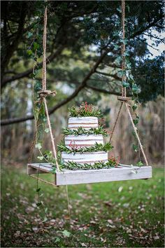 #nakedcake #hangingcakedisplay #cakeswing @weddingchicks