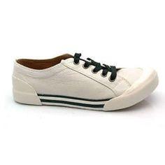 """GEE Wawa """"Reggie"""" White Leather Sneakers"""