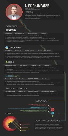 Honestly one of the most beautiful and unique resume designs I have ever seen posted! Very clean, classy and one of a kind. Obviously a designers resume but I think the design stylings can totally work for other industries, just toned down a bit. Infographic Resume Design by Jack Robinson, via Behance