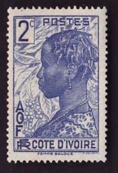 TIMBRE-cote-divoire-philatelie-Dallay-N-113-Femme-Baoule