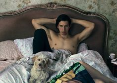 Adam Driver, shirtless in bed with a dog