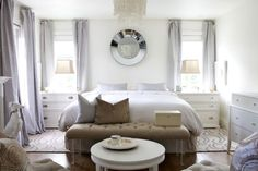 Neutral bedroom with a touch of pastel lavender