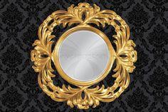 Nástenné zrkadlo v zlatom prevedení
