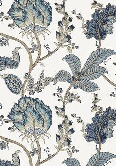 Kalamkari Vine - Blue & White