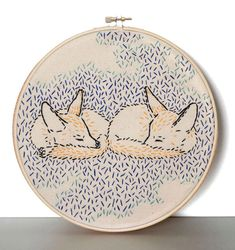 embroidery - foxes