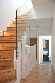Loft extension glass staircase balustrade, but the floor provides continuity Loft Conversion Stairs, Attic Conversion, Loft Conversions, Loft Stairs, House Stairs, Attic Staircase, Loft Room, Bedroom Loft, Bedroom Small