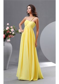 One Shoulder Yellow Zipper A-line Sleeveless Floor Length Chiffon Ruched Bridesmaid  Dresses 0846b77aaad1