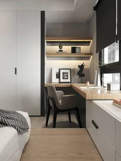 Modern home office nook in bedroom. Neutral home office design idea. Simple home office bedroom nook with light wood desk top and grey chair. Minimalism Interior, Interior, Home, Bedroom Interior, Interior Design Examples, House Interior, Office Interior Design, Home Interior Design, Interior Design