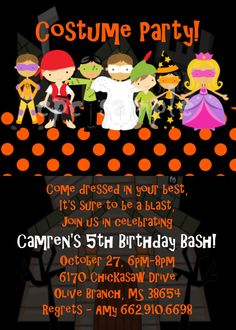 Costume Birthday party Invitations with envelopes Fall Halloween